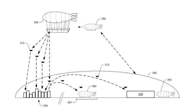 Amazon-1 Amazon patenta almacenes aéreos para hacer entregas con drones