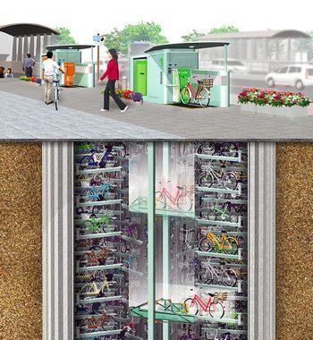 index01-1 Estacionamientos subterráneos para bicicletas en Japón